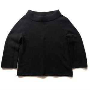 J. Crew Black 3/4 Sleeve Cropped Sweater